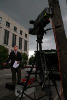 Kerry Sanders trying to beat the rain for MSNBC