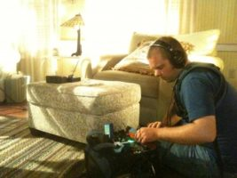 me doing audio 600x450 Life as a Charlotte Crew Cameraman Apprentice