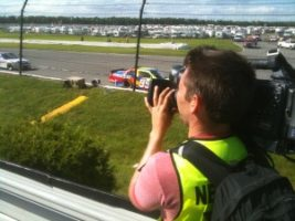 tom at pocono 300x225 Working with TNT Is Dynamite... Atlanta and Los Angeles Directors of Photography Light It up on NASCAR.